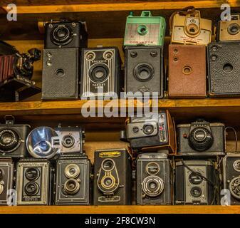 Une collection d'anciens appareils photo de film d'époque de différents types sur une étagère en exposition à l'intérieur
