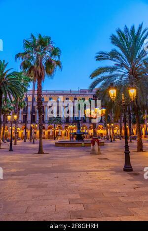 Fontaine à Plaça Reial à Barcelone, Espagne