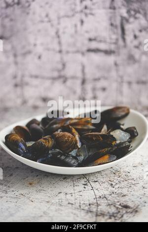 Moules de mer fraîches et crues dans un bol en céramique blanche arrière-plan en pierre