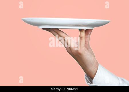 Une plaque blanche sur fond rose. Photo parfaite pour le restaurant, la cuisine et la bannière publicitaire.