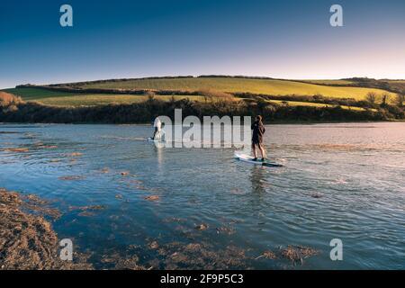 Une famille de vacanciers qui s'amusent à pagayer leurs paddleboards Stand Up à marée haute sur la rivière Gannel à Newquay en Cornouailles.