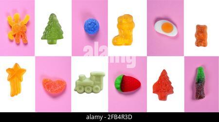 mosaïque d'un groupe de bonbons gélifiés