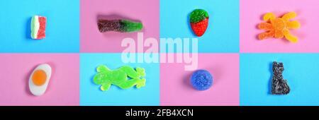 mosaïque d'un groupe de bonbons gélifiés rose et bleu arrière-plan