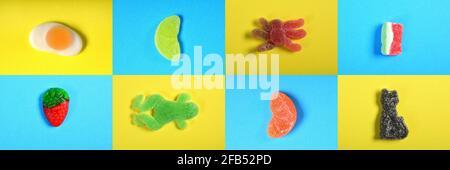mosaïque d'un groupe de bonbons gélifiés jaune et bleu arrière-plan