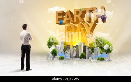 Vue arrière d'un homme d'affaires, concept de protection de l'environnement