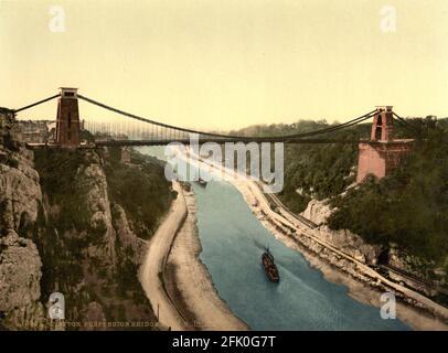 Pont suspendu de Clifton près de Bristol vers 1890-1900