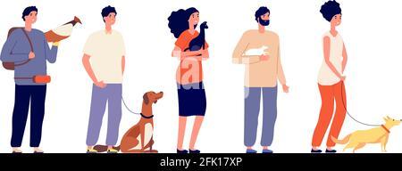 Propriétaires d'animaux de compagnie. Homme femme embrassant les animaux. Personnes isolées avec chien de chat, oiseau et rat. Animaux domestiques, jeunes amis debout personnages vectoriels