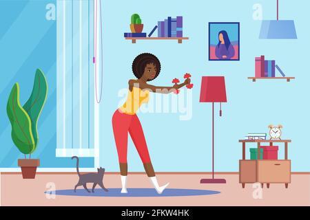 Entraînement de fille avec haltères, entraînement de sport de fitness à la maison, routine d'exercice quotidien