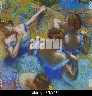 Titre: Blue Dancers Créateur: Edgar Degas Date: c.1899 Moyen: Pastel sur papier Dimensions: 65x65 cms emplacement: Pushkin Museum, Moscou, Russie