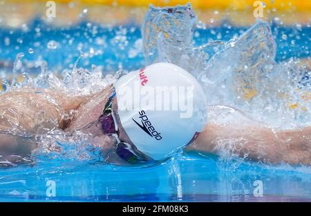 Qingdao, Chine. 5 mai 2021. Il Junyi, de Zhejiang, participe à la finale freestyle de 100m masculin aux Championnats nationaux chinois de natation 2021 à Qingdao, en Chine orientale, le 5 mai 2021. Credit: Xu Chang/Xinhua/Alay Live News