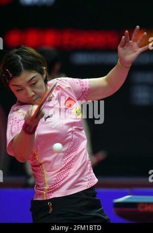 Xinxiang, province chinoise du Henan. 5 mai 2021. Chen Meng retourne le ballon lors de la quart-finale des femmes célibataires contre Liu Fei lors des essais de Grand smashes de WTT (World Table tennis) 2021 et de la simulation olympique à Xinxiang, dans la province de Henan, dans le centre de la Chine, le 5 mai 2021. Credit: Li Jianan/Xinhua/Alamy Live News