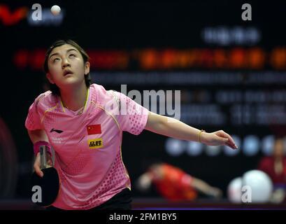 Xinxiang, province chinoise du Henan. 5 mai 2021. Chen Meng sert le ballon lors de la quart-finale des femmes célibataires contre Liu FEI lors des essais de Grand smashes de WTT (World Table tennis) 2021 et de la simulation olympique à Xinxiang, dans la province de Henan, dans le centre de la Chine, le 5 mai 2021. Credit: Li Jianan/Xinhua/Alamy Live News
