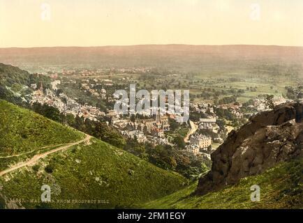 Malvern ville vue de Prospect Hill dans Worcestershire vers 1890-1900