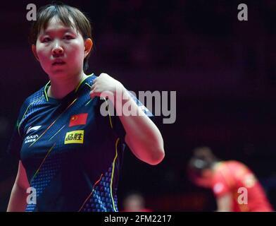 Xinxiang, province chinoise du Henan. 5 mai 2021. Zhu Yuling réagit lors de la quart de finale des femmes contre Liu Shiwen lors des essais de Grand smashes et de la simulation olympique de WTT (World Table tennis) 2021 à Xinxiang, dans la province de Henan, dans le centre de la Chine, le 5 mai 2021. Credit: Li Jianan/Xinhua/Alamy Live News