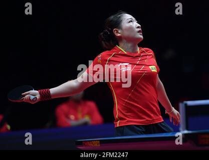 Xinxiang, province chinoise du Henan. 5 mai 2021. Liu Shiwen réagit lors du quart de finale féminin contre Zhu Yuling lors des essais de Grand smashes et de la simulation olympique de WTT (World Table tennis) 2021 à Xinxiang, dans la province de Henan, dans le centre de la Chine, le 5 mai 2021. Credit: Li Jianan/Xinhua/Alamy Live News