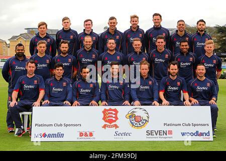 Les joueurs d'Essex posent pour une photo d'équipe dans un kit d'entraînement Au cours de la journée de presse de la CCC d'Essex, dans le comté d'Essex Terrain le 7 avril 2016