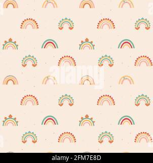 Arcs-en-ciel délicats de style bohémien. Motif vectoriel sans couture sur fond beige. Imprimé plat avec éléments de décoration dino. Pour papier peint, emballages, textiles et bien plus encore