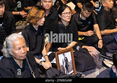 Les amateurs de funérailles du roi Rama IX, Bangkok, Thaïlande