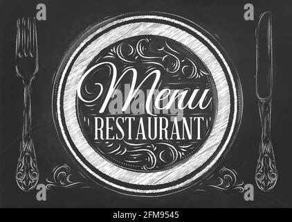 Menu restaurant lettrage sur une assiette avec une fourchette et une cuillère sur le côté dans le style rétro dessin avec la craie sur le tableau noir.
