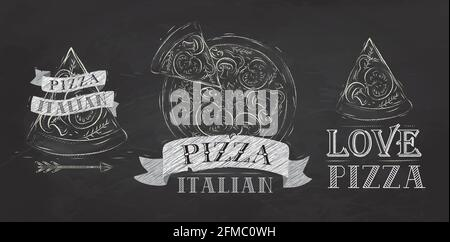 Symbole de pizza, icônes et une tranche de pizza avec l'inscription dessin italien stylisé avec craie sur le tableau noir