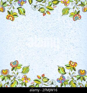 Carte de vœux peinte à la main avec fleurs ethniques folkloriques. Fleurs de printemps ou d'été pour les cartes d'invitation, de mariage ou de voeux. Vecteur