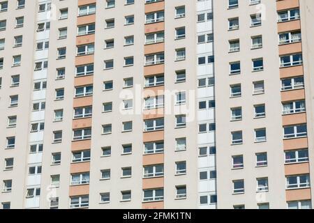Détail de fenêtre de logement social d'un bloc de tour, Grafton place, Townhead, Glasgow, Écosse, ROYAUME-UNI