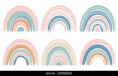 Ensemble de jolis arcs-en-ciel de style scandinave. Aquarelle arc-en-ciel isolée sur fond blanc. Couleurs pastel. Art moderne Vector.