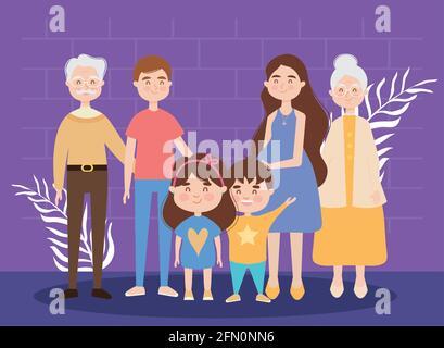 Mère père fille et fils avec grands-parents