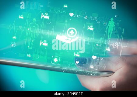 Gros plan d'un écran tactile avec icônes de santé
