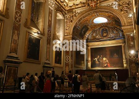 La Valette. Malte. Co-cathédrale Saint-Jean. Le Caravaggio peint le décapant de Saint Jean-Baptiste dans l'Oratoire.