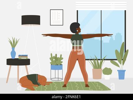 Entraînement sportif à la maison illustration vectorielle. Caricature active jeune femme caractère sportif dans l'entraînement de sportswear, faisant l'exercice de gymnastique, pratiquant la gymnastique dans l'arrière-plan intérieur de la maison