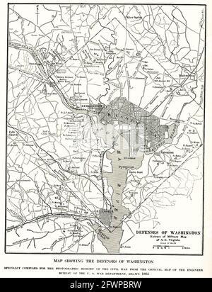 Carte montrant les défenses de Washington. Spécialement compilée pour l'histoire photographique de la guerre civile à partir de la carte officielle du bureau de l'ingénieur du département américain de guerre tirée en 1865