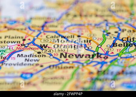 Orange Ouest New Jersey USA montré sur une carte de géographie ou carte routière