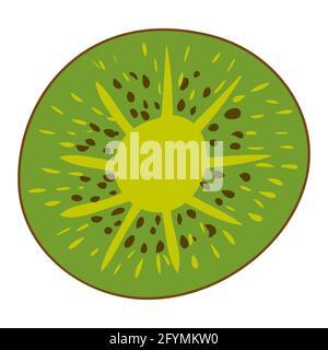 Tranche de kiwi, produit alimentaire naturel sain et biologique. Dessin animé plat à la main dessin à la main isolé