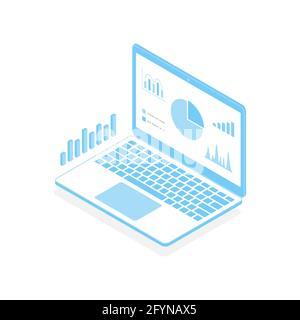 Infographie isométrique sur l'ordinateur portable et l'analyse. PC portable moderne ouvert avec Big Data. Ordinateur portable 3d.
