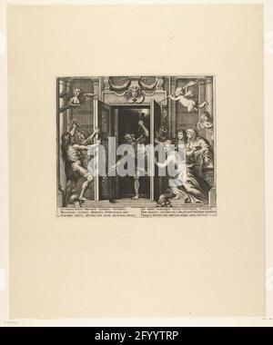 Ouverture des portes du temple Janus ; entrée de Ferdinand à Anvers en 1635 (no 31); Templum Jani: Médias onglet Pegmatis. Maiori Formâ. Ouverture des portes du temple de Janus. La frénésie des yeux bandés (Fur) avec la torche et l'épée debout dans la porte du temple. Gauche essayer de garder le discours et la Furie Tisiphone ouvrir la porte, droite la paix, la piété et l'Infanta Isabella Clara Eugenia fermer ses portes. L'alimentation centrale du Temple de Janus, établie sur le marché du lait. Signature en haut à gauche : p. 117b. Avec légende de 6 lignes en latin. Feuille n° 31 dans un jeu de 43 plaques qui illustrent le pupublica