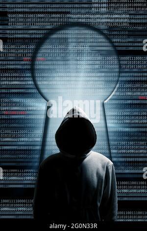 mystérieux homme à capuchon avec code et un concept keyhole, hacker et cybercrime