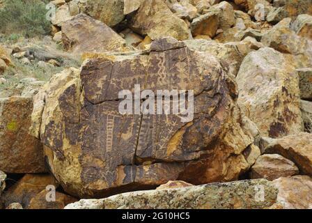 Pétroglyphes américains indigènes au site archéologique de Parowan Gap, Utah, États-Unis