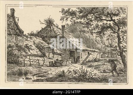 Ferme avec homme avec bois de pignon. Une face sur une cour de ferme avec un puits. Sous l'arbre au premier plan, un homme marche avec des branches de forêt sur son épaule.