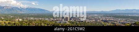 Salt Lake City, Utah, panorama avec le bâtiment de la capitale, vue depuis Ensign Peak