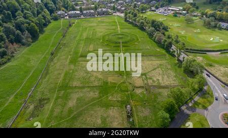 Une vue aérienne des Kings Knot à Sterling, en Écosse centrale, au Royaume-Uni