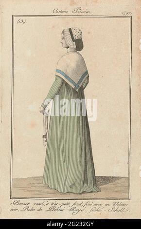 Journal des Ladies et des modes, Costume parisien, 3 décembre 1797, (13) : autour du capot, à Tres-petit fond (...). Femme debout, vue à l'arrière, à la tête un chapeau rond avec un très petit globe, attaché avec un bandeau de velours noir. Elle porte un chon de « peckini » rayé. Autour des épaules un fichu ou une écharpe: 'FICHU - SCHALL'. Un mouchoir dans la main gauche. L'imprimé fait partie du magazine de mode Journal des Laden et des modes, publié par Sellèque, Paris, 1797-1839.