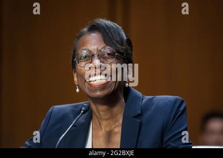 Washington, États-Unis d'Amérique. 09e juin 2021. Eunice C. Lee comparaît devant une audience de la Commission du Sénat sur la magistrature pour sa nomination au poste de juge du circuit des États-Unis pour le second circuit, dans le bâtiment Hart Senate Office à Washington, DC, le mercredi 9 juin 2021. Crédit: Rod Lamkey/CNP/Sipa USA crédit: SIPA US/Alay Live News
