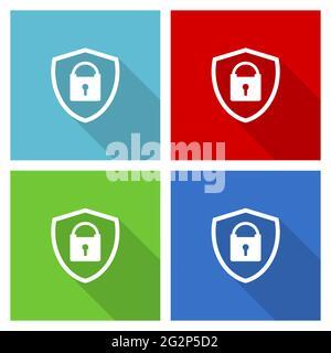 Bouclier avec icône de vecteur de cadenas, ensemble de symboles de conception plate dans eps 10 pour le webdesign et les applications mobiles