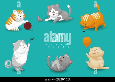 Illustration vectorielle mignon chatons. Ensemble de chats et chats domestiques jouant
