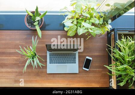 Vue de dessus de l'espace de travail avec ordinateur portable, smartphone et de nombreuses usines.