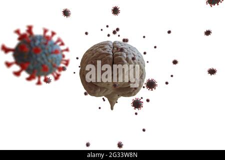 3D rendant l'effet du coronavirus sur la santé mentale. Problèmes psychologiques après avoir été malade avec COVID-19. Illustration 3D. Dépression sociale