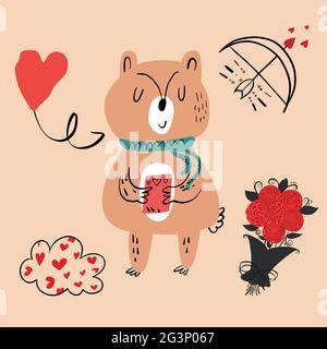 Illustration vectorielle d'un animal de différents types parmi les articles de vacances sur fond orange. Illustration vectorielle