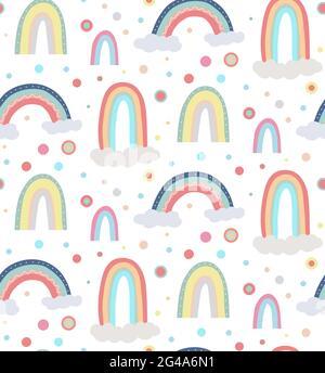 Joli motif puéril du ciel. Motif sans couture avec différents arcs-en-ciel, nuages et points. Papier peint vectoriel dans des couleurs pastel douces sur fond blanc