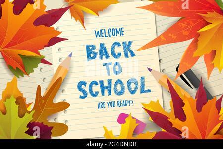 Retour à l'école mignon texte drôle avec des fournitures scolaires et des éléments éducatifs. Concept design, bannière, carte, message d'accueil. Illustration vectorielle.